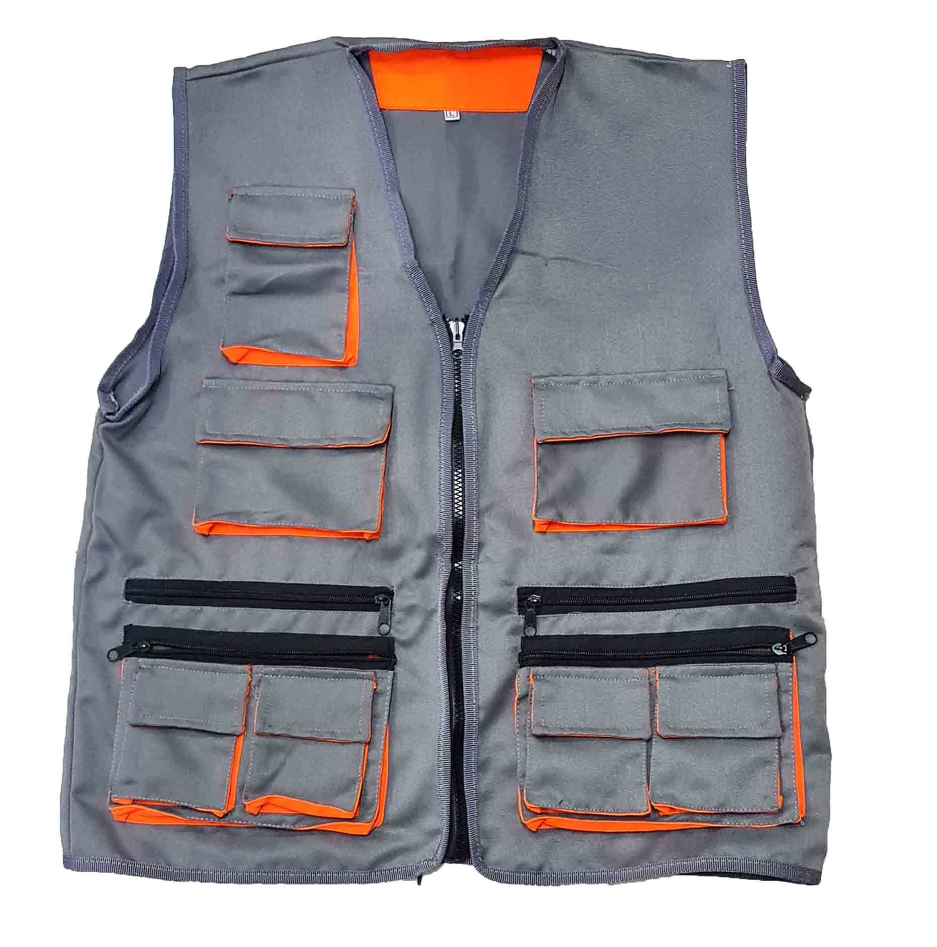 Chaleco Dril Gris/Naranja De Seguridad